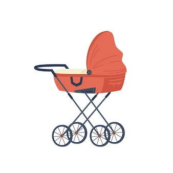 Red stroller for newborn baby isolated flat cartoon icon vector pram with handle and wheels