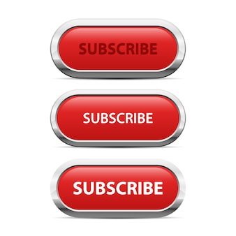 Red subscribe button   illustration  on white background
