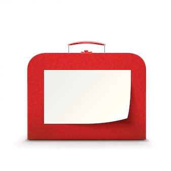 Red suitcase on white background