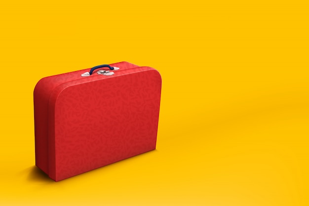Red suitcase on yellow