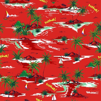Red summer beautiful seamless island pattern