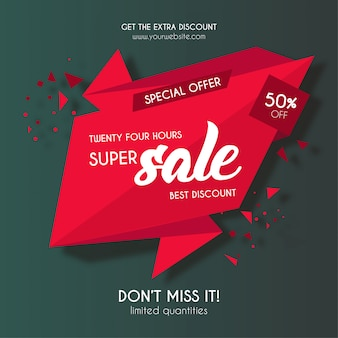 Red super sale origami banner