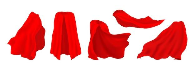빨간 슈퍼 히어로 망토. 드레이프의 현실적인 3d 영웅 망토, 마술사 실크 천, 뱀파이어 장식 의상. 벡터 일러스트 레이 션 카니발 옷 세트, 고립 된 영웅 맨틀