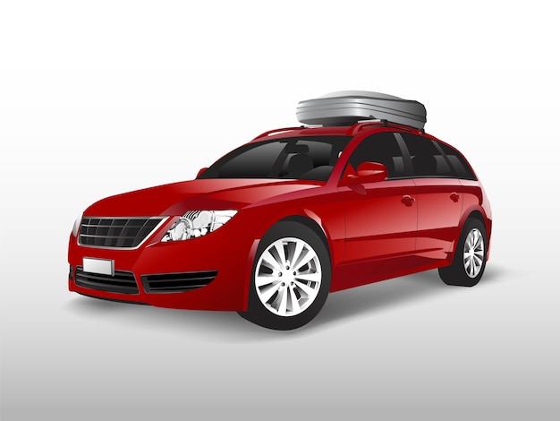 Red suv with a roof storage box