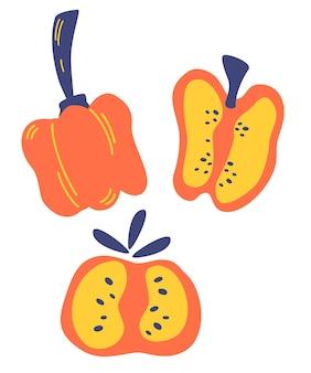 붉은 달콤한 고추와 조각 세트입니다. 후추 아이콘입니다. 야채 추상 그림입니다. 디자인을 위한 요리 재료. 벡터 만화 평면 스타일 그림입니다.