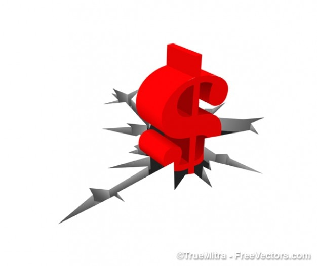 Red symbol of the dollar