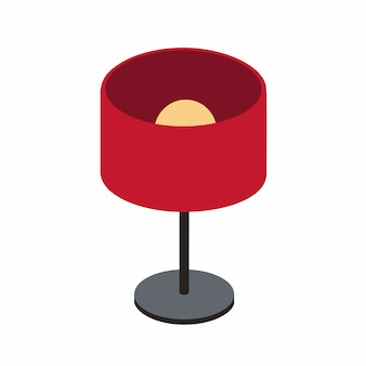 Red table lamp on a short stalk