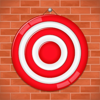 Red target on brick wall,  illustration