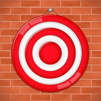 Red target on brick wall,  illustration Premium Vector