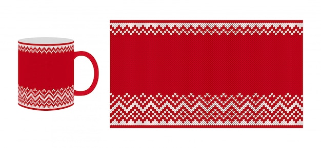 Red tea cup with knitting texture. seamless pattern