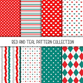 Red and teal collection of seamless patterns