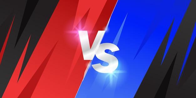 レッドチームとブルーチーム対。スポーツ、eスポーツ、サッカー、競技、決闘のバナーポスターの比較