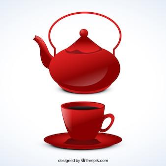 Красный чайник и чашки