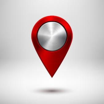 금속 질감 크롬 현실적인 그림자가 있는 빨간색 기술 지도 포인터 배지 gps 버튼 템플릿