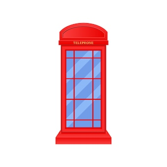 Red telephone booth logo design template