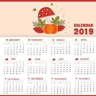 レッドテンプレートカレンダー2019テーマデザインクリエイティブとユニーク