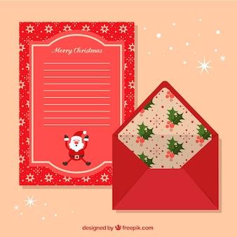 Modello rosso di una lettera di natale e busta