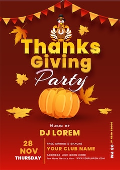 Thanksgiving Party Flyer Template Vector Free Download