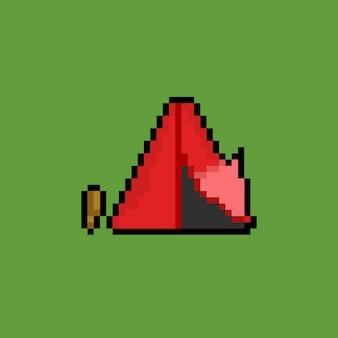 픽셀 아트 스타일의 빨간 텐트