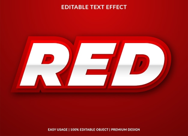 Red text effect template premium style