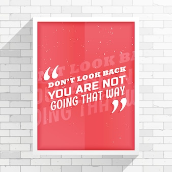 Минимальный красный листовка с сообщением не смотри назад вы не собираетесь таким образом