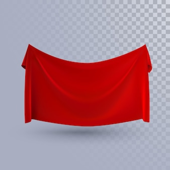 Red textile banner isolated on transparent background.