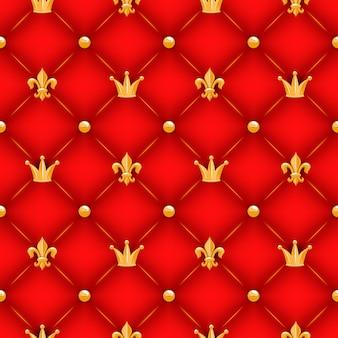 Красная текстура с коронами, лилиями и пуговицами.