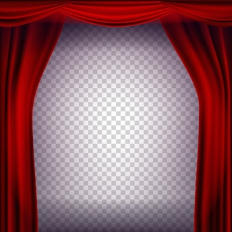 Red theater curtain vector. transparent background for concert, party, theater, dance template. realistic illustration