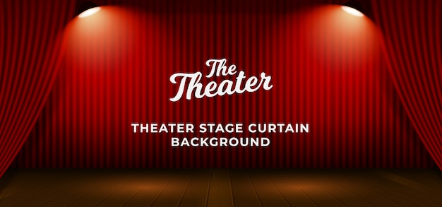 Red theater stage curtain with wooden floor base and double bright spotlight lamp vector illustration. backdrop with text template