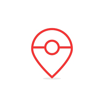 Red thin line abstract map pin. concept of gps navigation, retro mark, cute, find outside, entertainment application. flat style trend modern logotype design vector illustration on white background