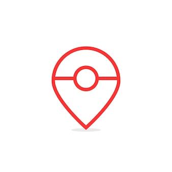 赤い細い線の抽象的なマップピン。 gpsナビゲーション、レトロマーク、かわいい、外を見つける、エンターテインメントアプリケーションの概念。フラットスタイルのトレンドモダンなロゴタイプデザインベクトルイラスト白地に