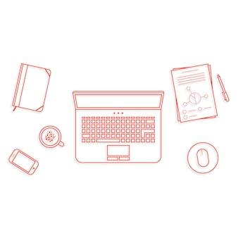 Элементы рабочего пространства офиса дела красной тонкой линией. концепция заголовка веб-страницы, поисковая оптимизация, вид на рабочий стол, пользовательский интерфейс сайта, финансовый отчет. изолированные на белом фоне. линейный стиль тенденции логотипа дизайн векторные иллюстрации