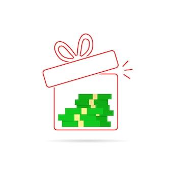 中にお金が入った赤い細い線のギフトボックス。株式、資金調達、利益、クリスマスはがき、給与、イベント、賄賂、借金の概念。フラットスタイルのトレンドモダンなロゴデザインベクトルイラスト白地に