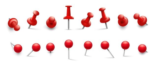 빨간 압정. 부착을 위해 다른 각도로 핀을 누르십시오.