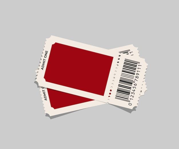 灰色の背景に分離された赤いチケットテンプレート。