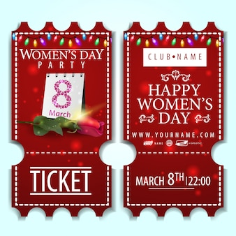 Red ticket to the women's day party with rose