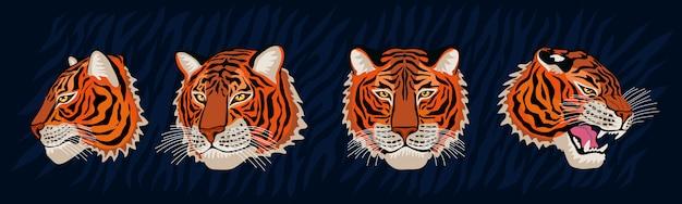Красный тигр головы рык дикий кот в красочных джунглях. тигровые полосы фоновый рисунок. нарисованный персонаж искусства иллюстрации