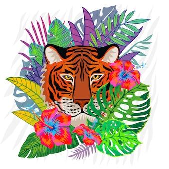 Красный тигр голова дикого кота в красочных джунглях. тропический лес тропический листья фоновый рисунок. иллюстрация тигровых полос