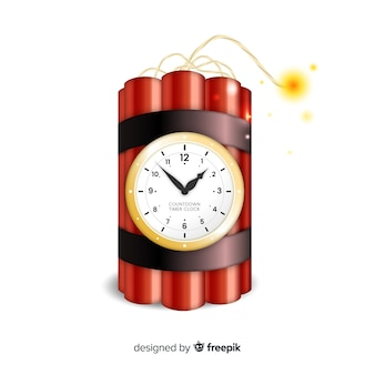 Red time bomb realistic design