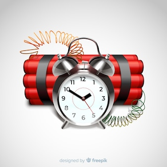 Red time bomb realistic style
