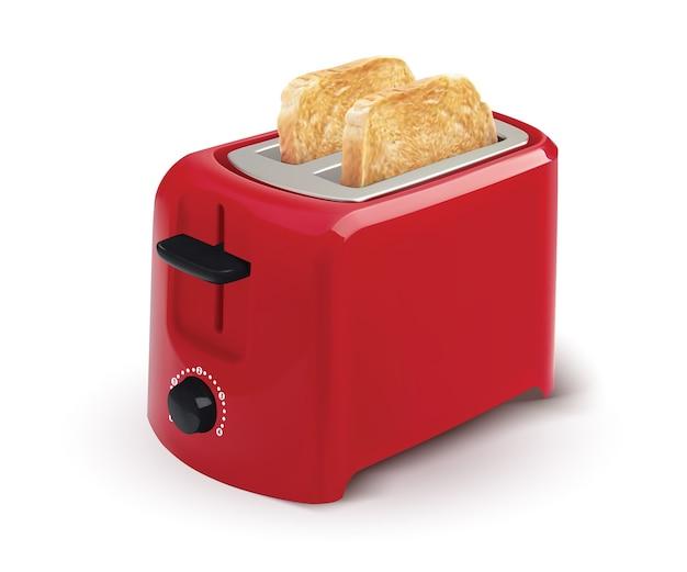 朝食にトーストしたパンが入った赤いトースター。白で隔離。リアル。