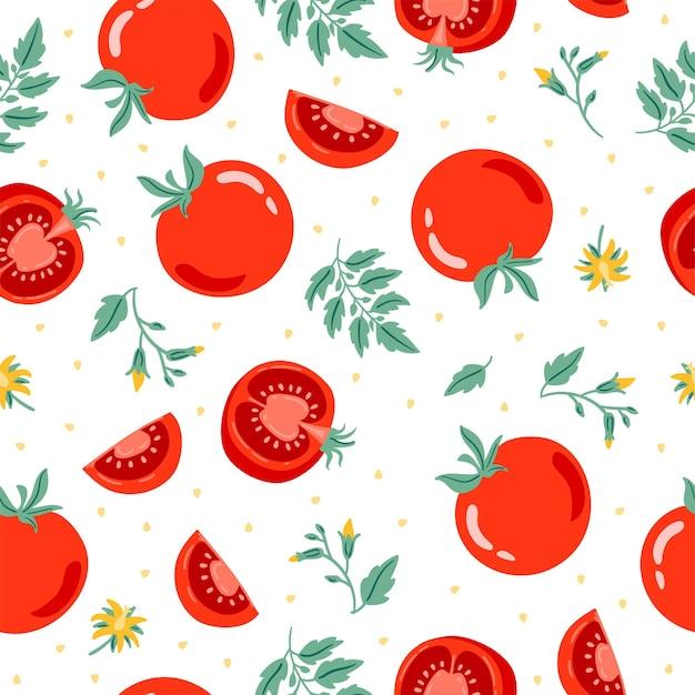 빨간 토마토 원활한 패턴 벡터 일러스트 레이 션 잘라 토마토 토마토 슬라이스 잎 꽃