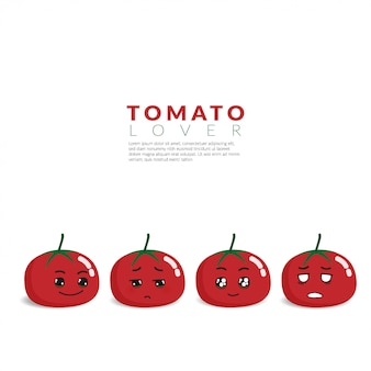 Red tomato with 4 different cute face emotion