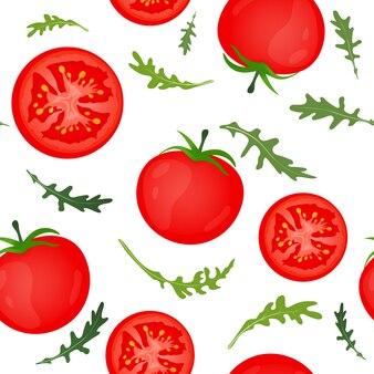 Красные помидоры на белом фоне. томат овощной с листьями рукколы. бесшовный образец