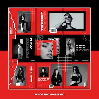 빨간색 찢어진 종이 패션 스트리트웨어 소셜 미디어 인스 타 그램 퍼즐 템플릿 번들 게시물