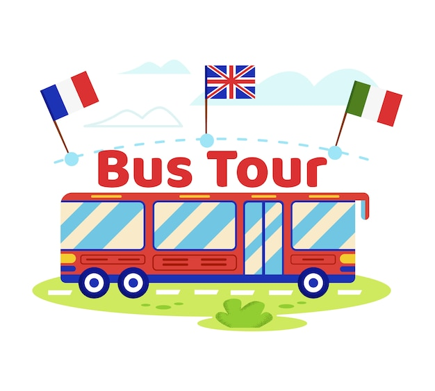 Red tour bus with italian, england, french flags