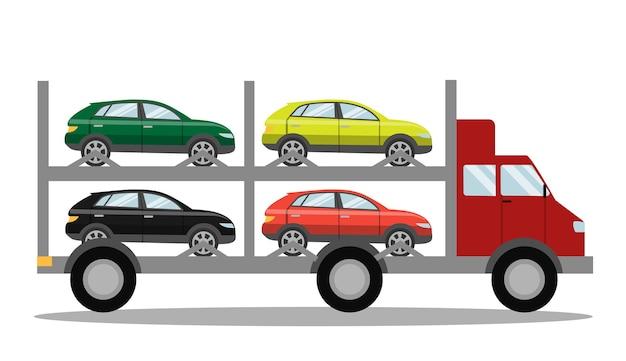 Красный эвакуатор, полный машин. городская помощь на дорогах. перевозка битых автомобилей. изолированная иллюстрация