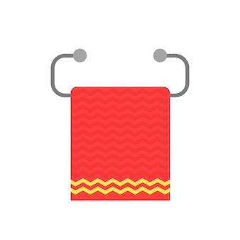 Red towel on metal holder. concept of paper washcloth, rag, domestic appliances, essential household items, wipe oneself, fold. flat style trend modern logotype graphic design on white background