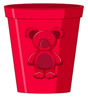 Red toy cup with bear