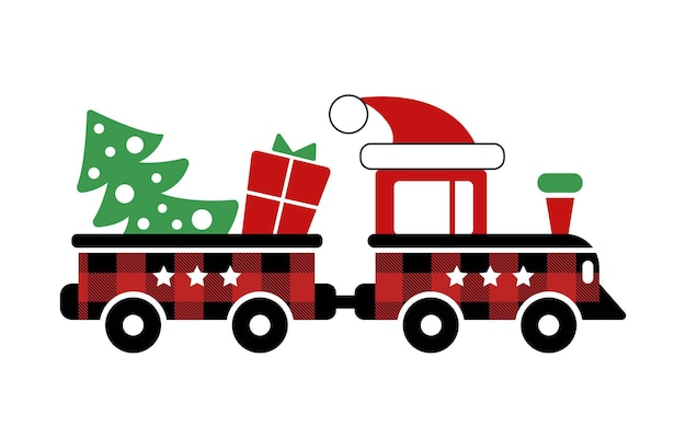 Red toy train and wagon with christmas gift tree hat with buffalo plaid ornament in red black